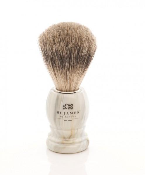 Super Badger Shaving Brush - Alabaster Marble