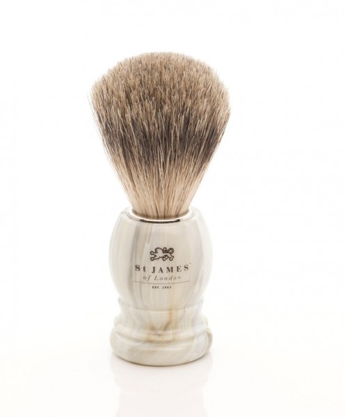 Super Badger Shaving Brush - Alabaster Marble